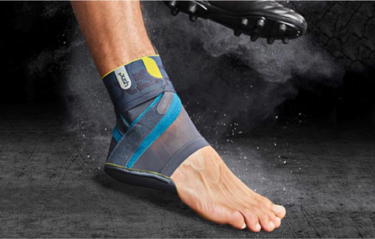 soccer player wearing the Push Sports Ankle brace Kicx