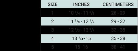 Push med Ankle Brace Sizing Chart