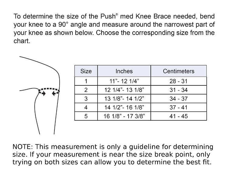 Push med Knee Brace Sizing Chart