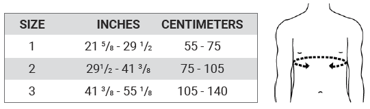 Push med Shoulder Brace Size Chart