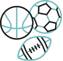 Basketball, Football and Soccer Ball
