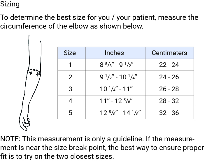 Push med Elbow Brace Sizing Chart